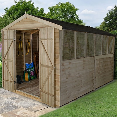 12x8 Forest Overlap Apex Wooden Shed - Double Doors