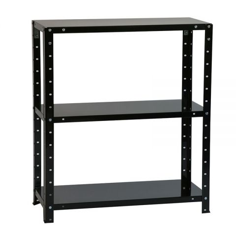 3x2 3 Tier Bolted Black Shelving Unit