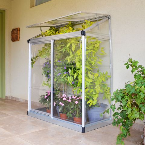 a lean to silver greenhouse housing potted plants