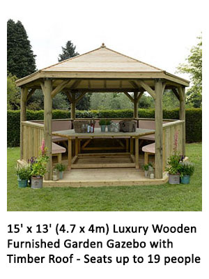 15' x 13' (4.7 x 4m) Luxury Wooden Furnished Garden Gazebo with Timber Roof - Seats up to 19 people