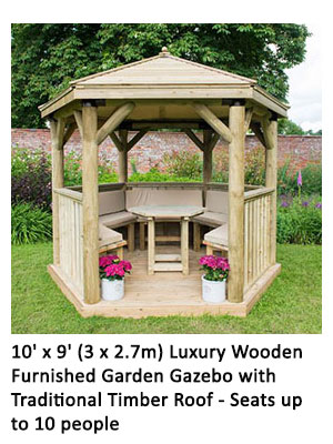 10' x 9' (3 x 2.7m) Luxury Wooden Furnished Garden Gazebo with Traditional Timber Roof - Seats up to 10 people