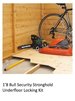 a bicycle held in place inside a wood shed by the 1'8 Bull Security Stronghold Underfloor Locking Kit