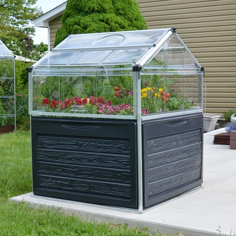 a clear mini greenhouse with black sides housing red, pink, and yellow flowers