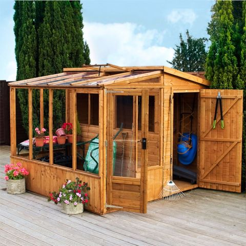 a pent wooden shed combined with a greenhouse on the side