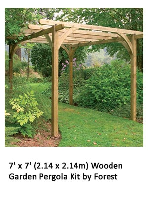 7' x 7' (2.14 x 2.14m) Wooden Garden Pergola Kit by Forest