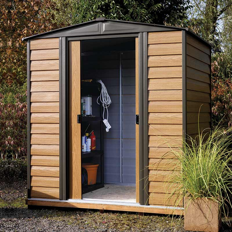 Image of 10' x 12' Arrow Woodvale Garden Metal Storage Shed (3.7m x 3.13m)