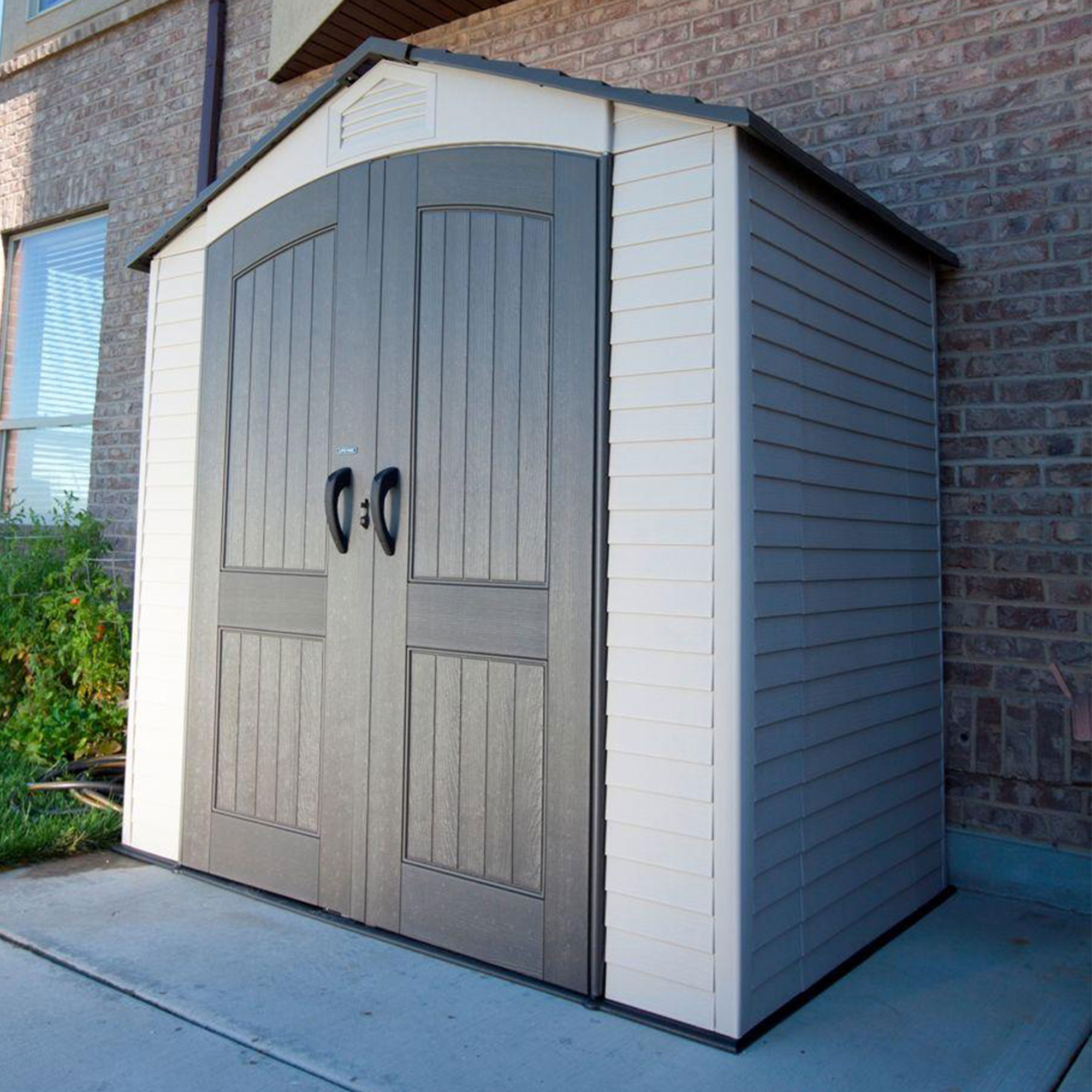 walmart com resin weather plastic x sheds taupe outdoor shed beige storage all ip keter factor