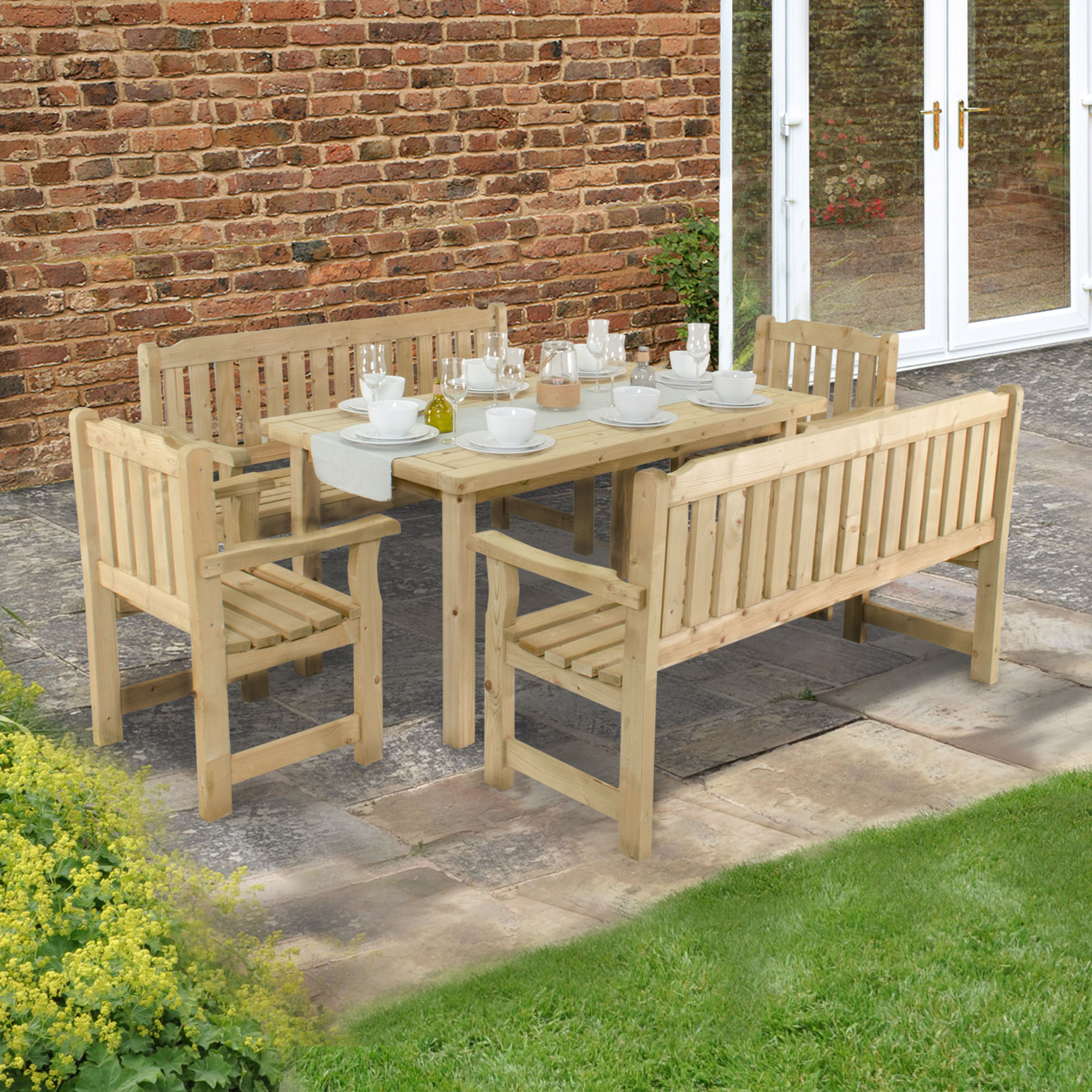 bce76ec2ddf4 Forest Rosedene 8 Seater Wooden Garden Table and Chairs Dining Set   Shedstore
