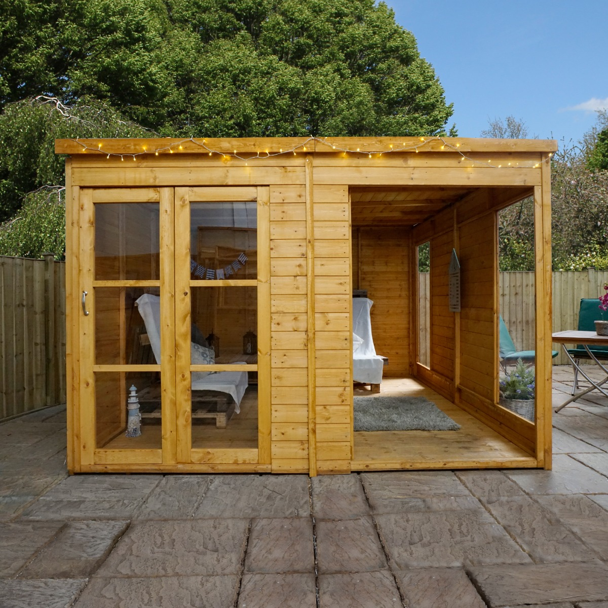 Image of 10x10 Windsor Contemporary Wooden Summerhouse / Garden Room With Bi-Fold Doors