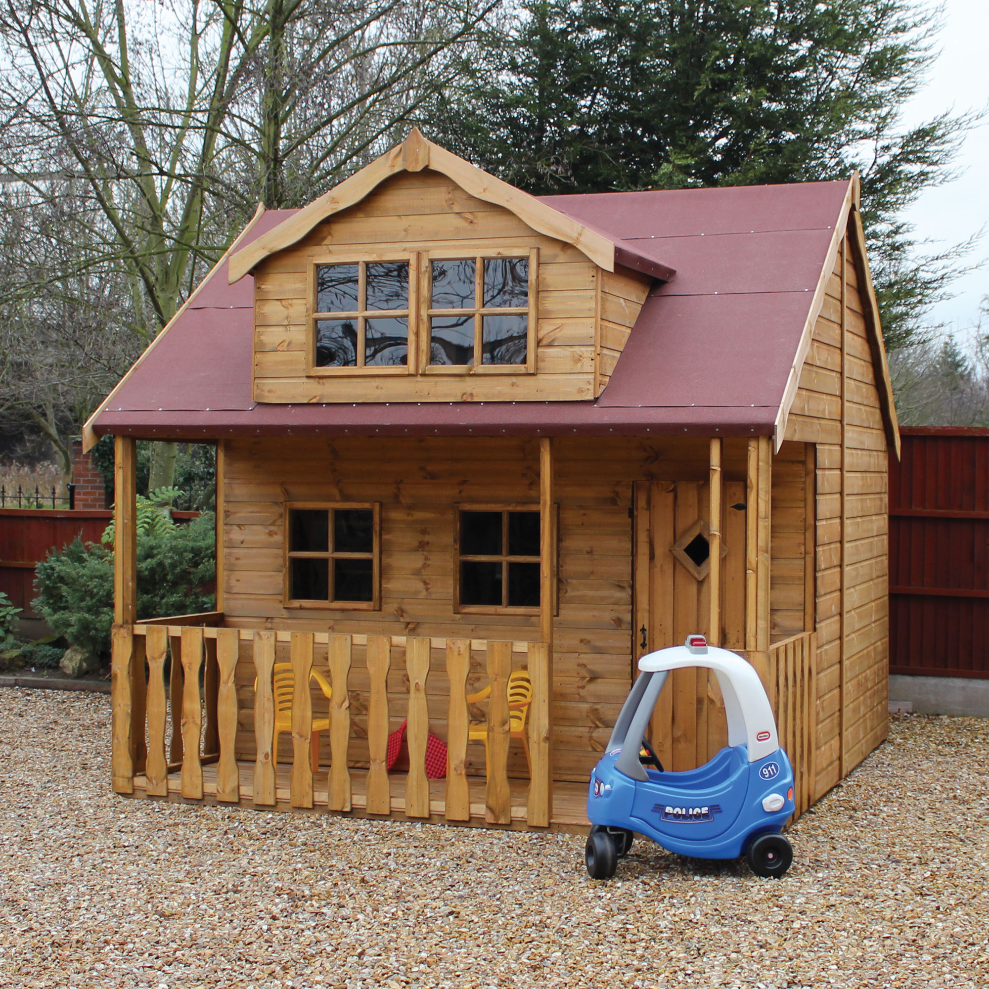 Image of 10x10 Traditional Swiss Cottage 2 Storey Kids Playhouse With Veranda