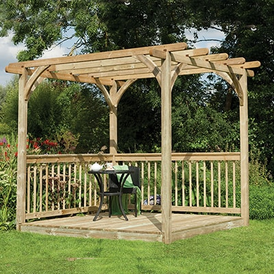 8x8 Forest Small Pergola Deck Kit