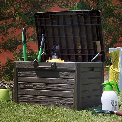 120L Toomax Small Wood Effect Outdoor Storage Box
