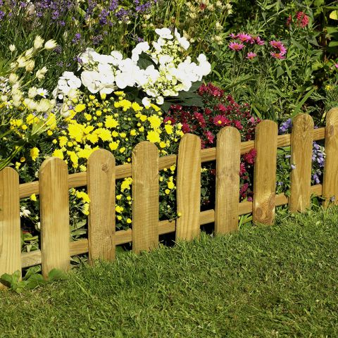 Forest Picket Fence Edging for garden borders