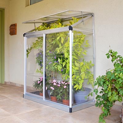 4x2 Palram Lean to Mini Greenhouse Silver
