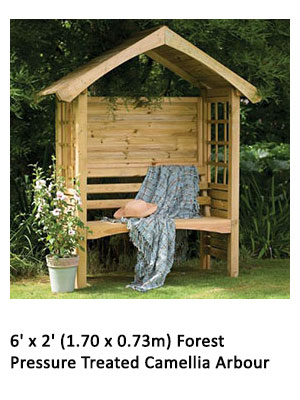 6' x 2' (1.70 x 0.73m) Forest Pressure Treated Camellia Arbour