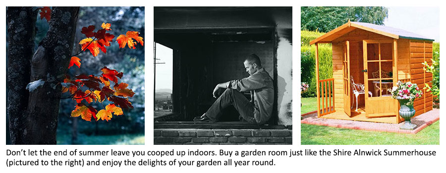 Autumn leaves, a man indoors looking sad and the Shire Alnwick Summerhouse
