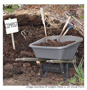 a wheelbarrow full of compost with a compost sign in the background