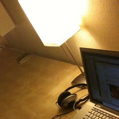 lamp and laptop