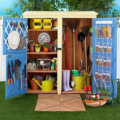 A tidy shed using door space wisely