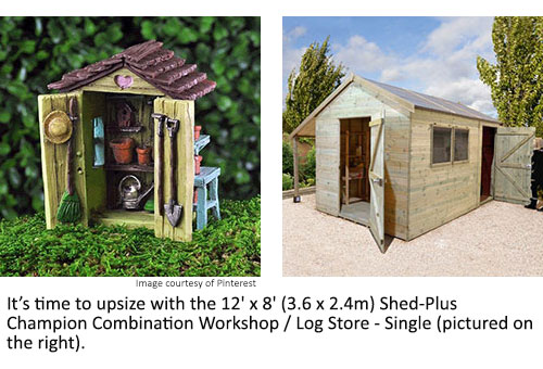 A small model shed and the 12x8 Shed-Plus Champion Combination Workshop/ Log Store - Single