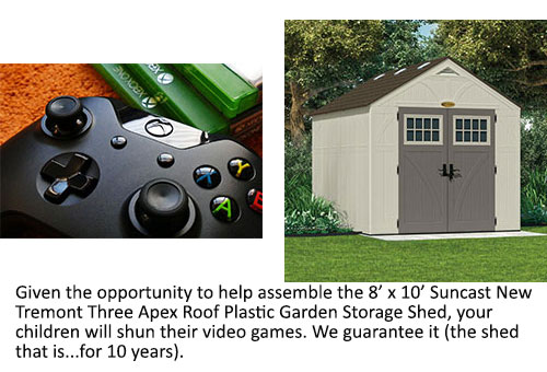 A games console controller and the 8x10 Suncast New Tremont Three Apex Roof Plastic Garden Storage Shed