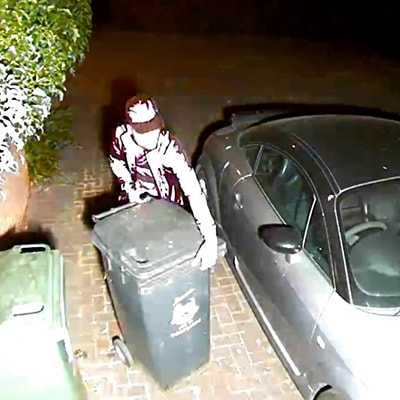 CCTV of a wheelie bin thief
